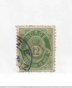 Norway, 26, Post Horn and Crown Single, **Used** #3