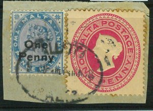BK0268 - MALTA - POSTAL HISTORY -  Stationery cut out + other stamp on FRANGMENT