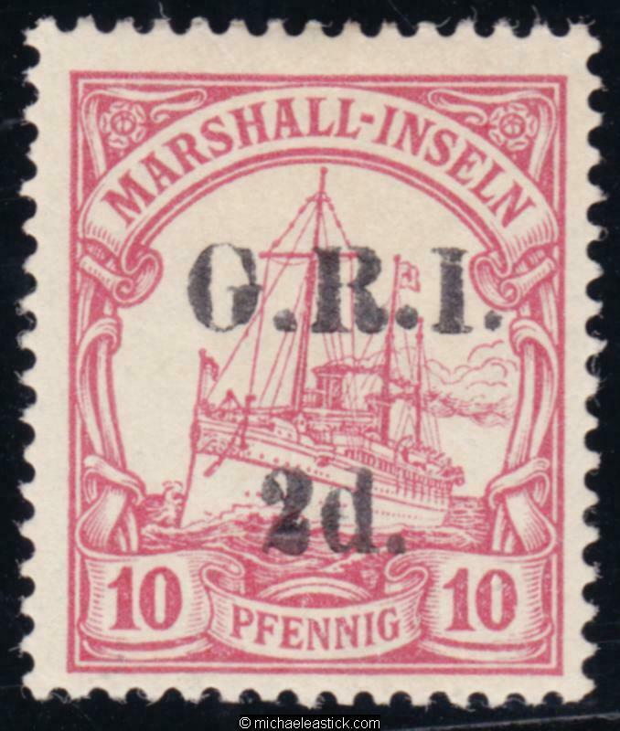 1914 New Guinea 2d on 10pf Carmine, overprinted 'G.R.I.', SG 52, MLH