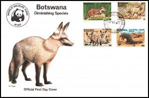 Botswana 182-185 Animals WWF U/A FDC