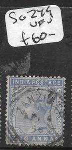 ZANZIBAR  (PP1209B) INDIA USED IN ZANZIBAR QV 2A  SGZ49  VFU