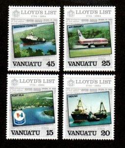Vanuatu MNH 368-71 Lloyd's List Ships & Plane