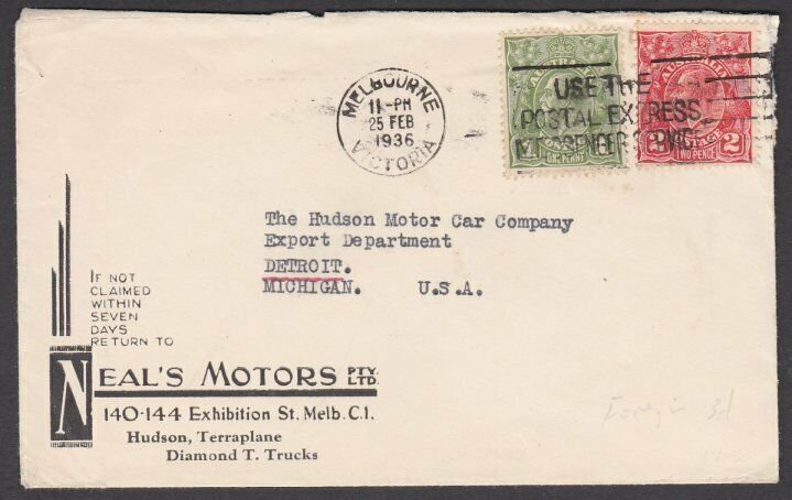 AUSTRALIA 1936 3d rate cover Melbourne to USA - Neal's Motors advert........N592