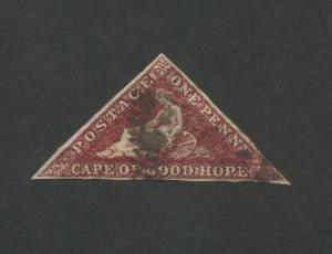1853 Cape of Good Hope Postage Stamp #1 Used F/VF Grid Postal Cancel