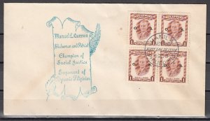 Philippines, Scott cat. O66. Manuel Quezon issue. Official o/p. First day cover.
