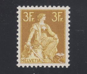 Switzerland Sc 145 MNH. 1908 3fr bistre & yellow Helvetia, scarce. APEX Cert.