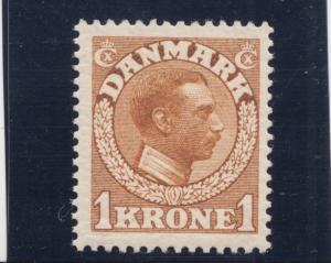 Denmark Sc 132 MNH. 1913 1k yellow brown King Christian X, fresh, VF.