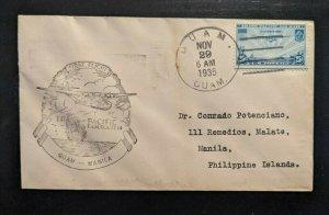 1935 Guam First Flight FAM 14 Cover to Manila Philippines