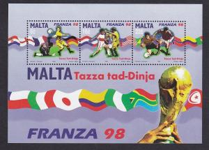 Malta   #950-952a   MNH  1998  sheet world cup football
