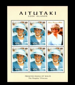 AITUTAKI - 1998 - PRINCESS DIANA OF WALES - PEOPLES PRINCESS - MINT MNH SHEET!