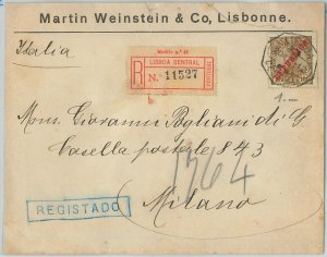 58222 -  PORTUGAL  - POSTAL HISTORY: REGISTERED COVER to ITALY - 1912