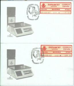 82729 - SPAIN - Postal History - FRAMA LABEL on 2 COVERS: OLYMPIC GAMES  1987