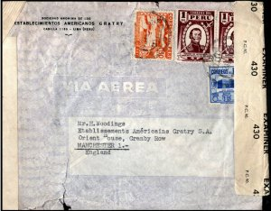 Peru 1940's Cover Lima to Manchester England Open by Examiner