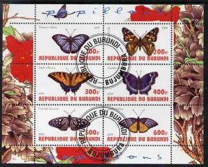 Burundi Used S/S Butterflies 6 Stamps 2009