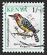 Kenya # 597 - Red & Yellow Barber - used     [KlBlw]