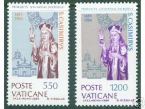 VATICAN Scott 731-2 MNH** 1984 Saint Casimir Set CV$2.90