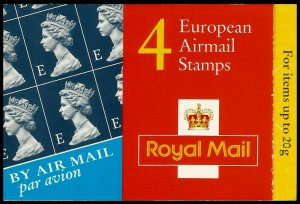 1999 4 X European Airmail Stamps (1669) Complete Booklet SG HF1