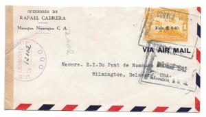 Nicaragua Censored Cover 1942 WWII Sc C168 Overprint Air to US Censor 12002