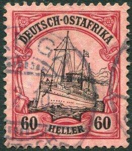 GERMAN EAST AFRICA-1905-20 60h Black & Carmine/Rose Sg 41 FINE USED V36335