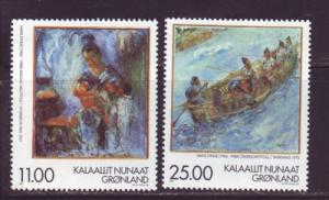 Greenland Sc 340-1 1998 Lynge Paintings stamps NH