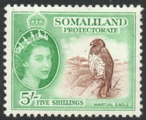 SOMALILAND-1953-58 5/- Red-Brown & Emerald Sg 147 MOUNTED MINT V42917