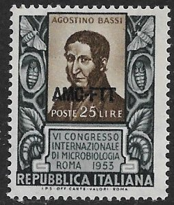 ITALY AMG TRIEST ZONE A 1953 Microbiology Congress Issue Sc 187 MNH