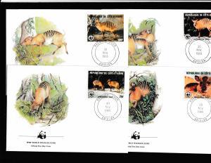 Ivory Coast - Fauna WWF - 4 FDC - ZEBRA DUIKER