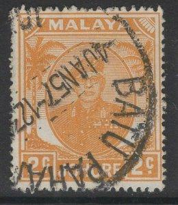 MALAYA JOHORE SG134 1949 2c ORANGE USED