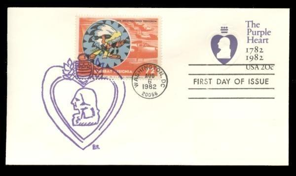 16th Reconnaisance Squadron Poster Stamp on Purple Heart #U603 FDC