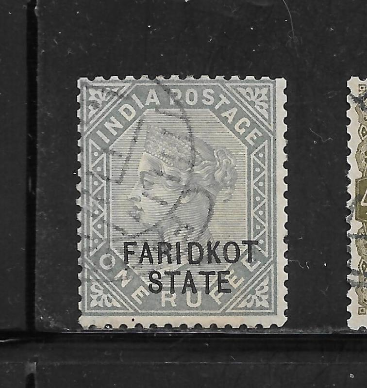 1887-1900 FARIDKOT, SG15 CAT £450 FINE USED,QV, 1 RUPEE,INDIA,INDIAN STATES,RARE