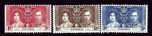 Nigeria 50-52 MNH 1937 KGVI Coronation    (ap4167)