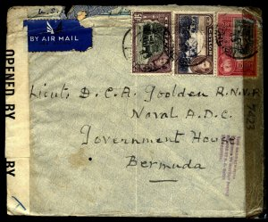 Ceylon 1943 Double censored cover Colombo to Bermuda  WOW