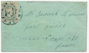 CSA Turned Cover Handstamp Paid 5 Whiteville, NC Scott #12 Military Ex-Bogg
