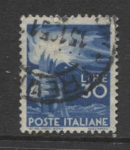 Italy - Scott 488 - Definitive -1947 -VFU - 30I Stamp
