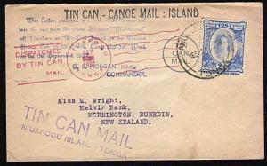 TONGA 1937 Tin Can Mail cover - SS Maunganui...............................44602