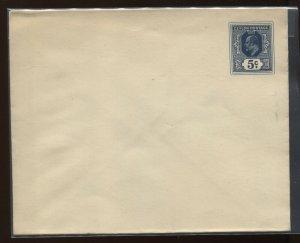 Ceylon KEVII 1903 5 cents deep blue envelope unused