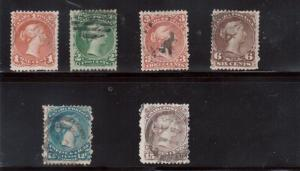 Canada #22a - #29c (#22a #24a #25a #27b #28a #29c) Used Watermarked Set