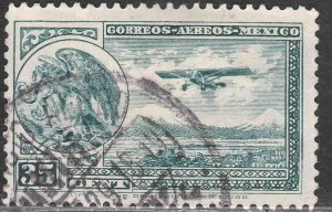 MEXICO C15, 35¢ Early Air Mail Plane and coat of arms.USED. VF. (1193)