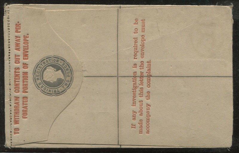 Trinidad QV 2d registered letter envelope unused