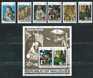 Maldive Islands 489-95 1974 Picasso set and s.s. NH