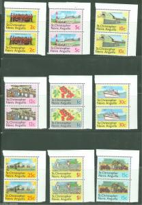 ST. CHRISTOPHER NEVIS  ANGUILLA  LOT OF SIX MINT NH DEFINITIVE  SETS