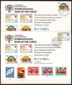 United Nations, 1979 Agency issue. Year of Child, Stamp Show Cards. 2 Cancels.