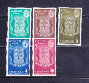 Sharjah & Dependencies 36-40 Set MNH Freedom From Hunger