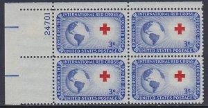 1016 Red Cross Plate Block MNH