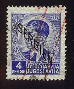 Serbia Sc# 2N7  4d King Petar, descending overprint used