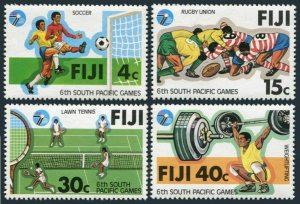 Fiji 405-408,MNH.Michel 395-398 Pacific Games 1979.Soccer,Rugby,Tennis,W-lifting