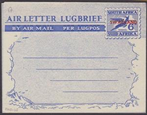 SWAZILAND 6d South Africa airletter overprinted for use in Swaziland.......67599
