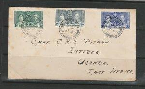 Turks & Caicos FDC 1937 Coronation, Plain, Turks Island cds, backstamped Entebbe