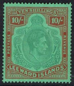 LEEWARD ISLANDS 1938 KGVI 10/-