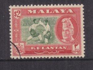 KELANTAN, 1957 Sultan Ibrahim, perf 12 1/2, $ 2.00 Green & Scarlet, used.
